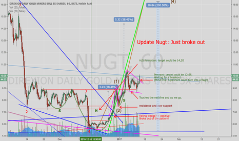 NUGT: NUGT Update: Nugt just broke out of the pennant