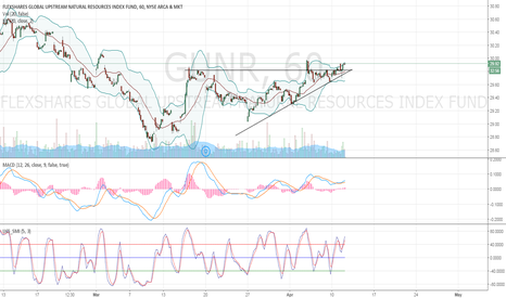 GUNR: GUNR Possible Triangle Breakout