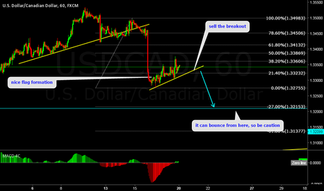 USDCAD: USDCAD sell the breakout of flag.