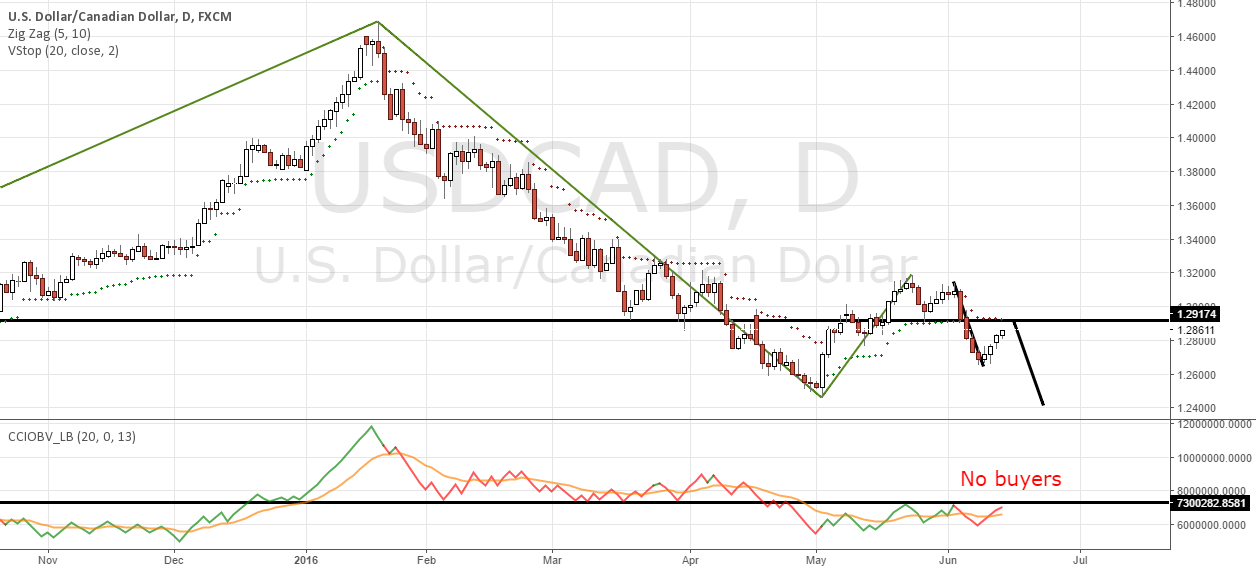 USDCAD correction no buyers trend