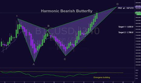 BTCUSD: BTCUSD in a Harmonic Bearish Butterfly - Still a little to go