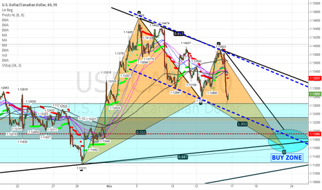 USDCAD: Long USD CAD at area of 1.1600 - 1.1700 (BAT PATTERN)