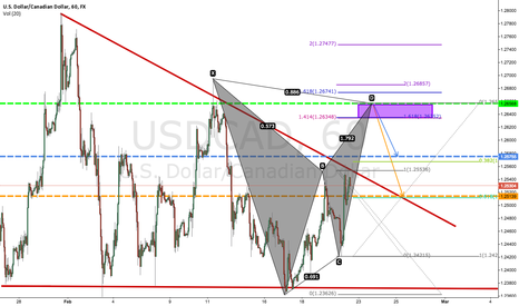 USDCAD: Bearish Bat Pattern on USDCAD (60 Min) + Descending Triangle