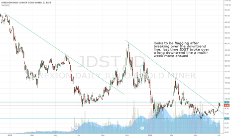 JDST: JDST bull flag after break of long term downtrend line