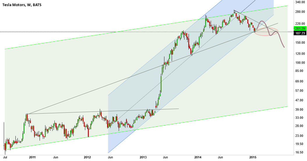 TSLA, a right shoulder could be in place