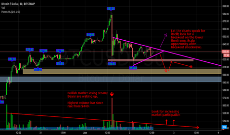 BTCUSD: Bullish market losing steam; Bears waking up. Reversal imminent.