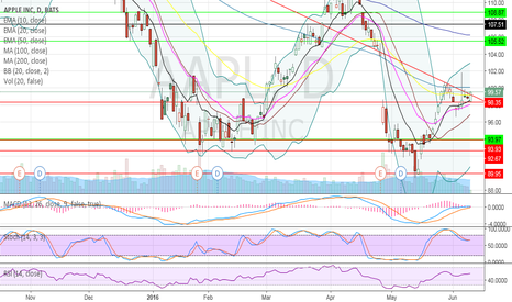 AAPL: AAPL at 100 day MA and strong down trend support.