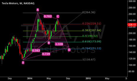 TSLA: Gartley 222 on Tesla Indicates a Possible Move Down.