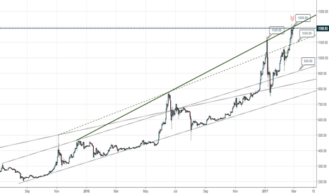 BTCUSD: Bitcoin at reversal point 1200