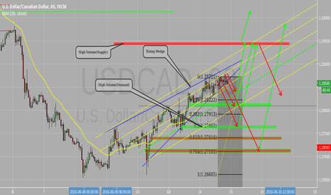 USDCAD: Rising wedge, Pivot Points, Supply and  Demand,Trend