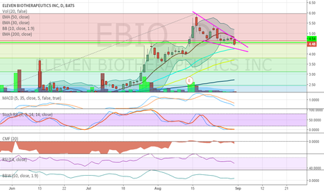 EBIO: Falling wedge (short term pullback)