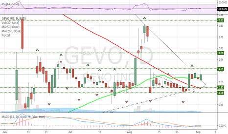 GEVO: Pennant breakout, .61 EOD?