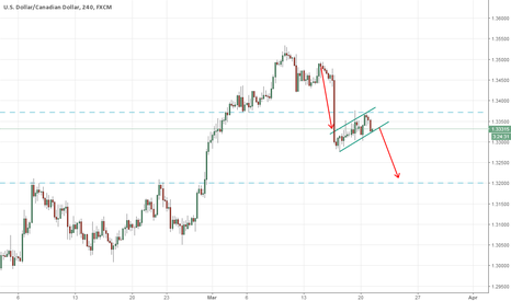 USDCAD: possible bearish flag