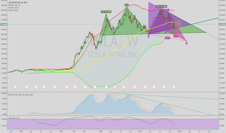 TSLA: Weekly Chart of TSLA with H&S, Bat and Triangal patterns