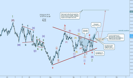 USOIL: OIL WAVE COUNT:  TRIANGLE COMPLETE, Watch for Wave-((I))-of-3!