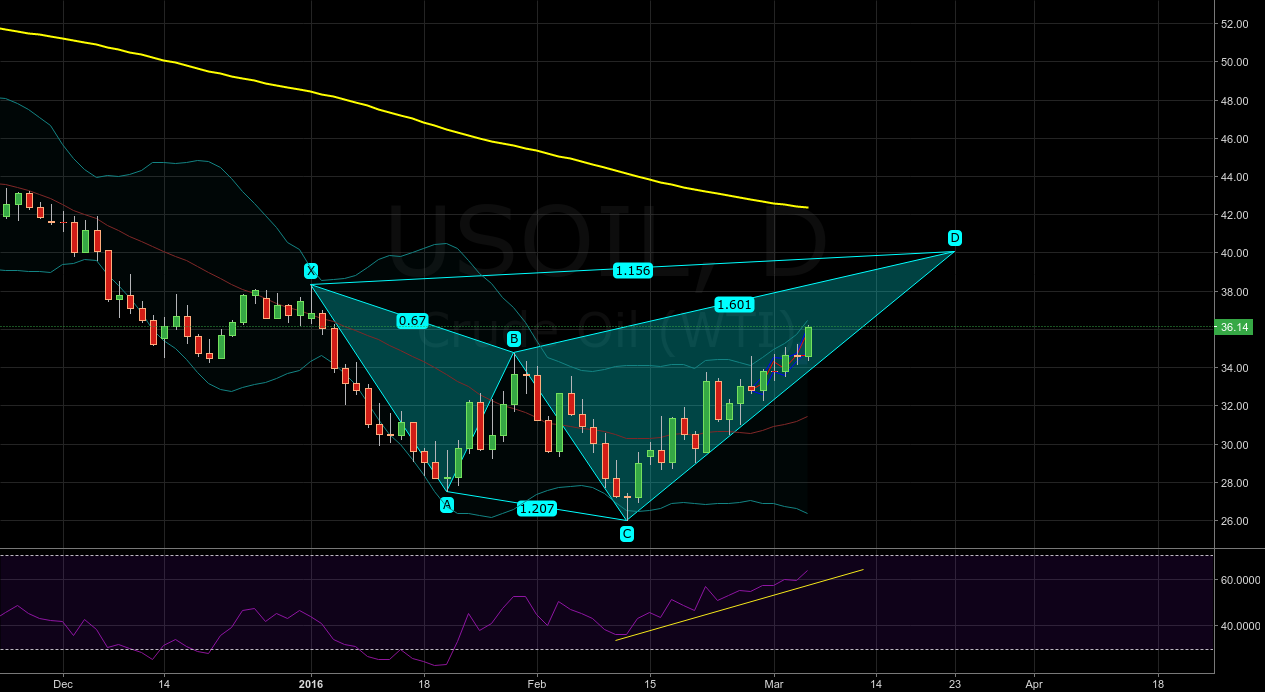 WTI potential bearish shark pattern - daily