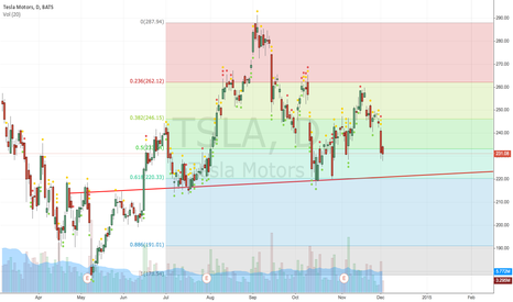 TSLA: Head and shoulder, fib retracement ALL pointing to FALL in tesla
