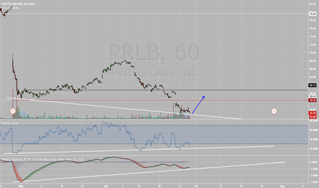 PRLB: Bull Divergence. Looking for a pop to 58 or so..