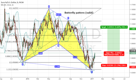 EURUSD: Bullish Butterfly Pattern EURUSD (Daily)