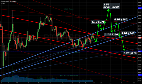 BTCUSD: New:Short term bullish TG $305-$330, then back to $210 level