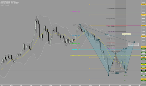 XAUUSD: Potential double bottom + Gartley 222 SELL on Weekly